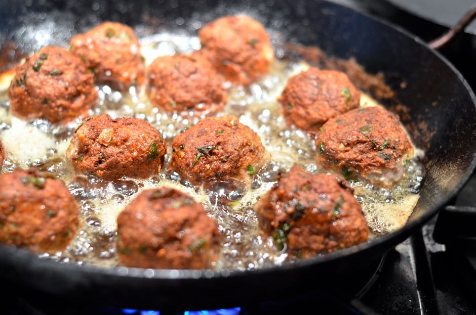 Frying meatballs almost finished